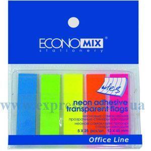 Изображение Закладки з клейким слоем  Economix 12 х 45 мм, 125 листов, 5 неоновых цветов