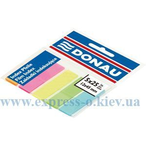 Изображение Закладки пластиковые з клейкой полосой 5 цветов х 25 листов, 45 х 12 мм, неон, ассорти