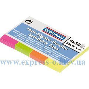 Изображение Закладки бумажные с клейким слоем, 4 цветов х 50 листов, 20 х 50 мм, неон, ассорти