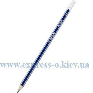 Изображение Олівець графітовий НВ, синій, із срібл./золот. гранями, з гумкою