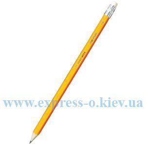 Изображение Олівець графітовий HB, жовтий, з гумкою,  JOBMAX