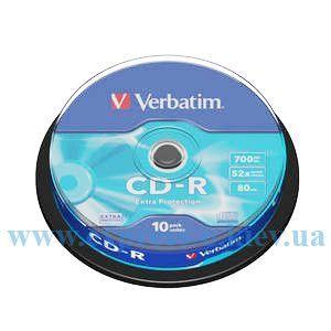 Изображение Диск CD-R Вербатим 52х 10 штук  на шпинделе