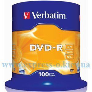 Изображение Диск DVD-R Вербатим 16х   100 штук   на шпинделе