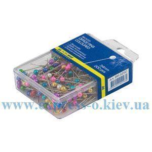Изображение Шпильки кольорові, 34 мм, 200 шт., пласт. контейнер