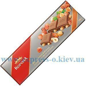 Изображение Шоколад Корона  молочн. с цельными  лесными орехами 185 г
