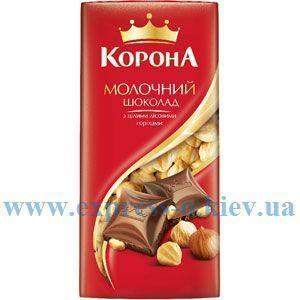 Изображение Шоколад Корона  молочный с цельными лесными орехами 90 г