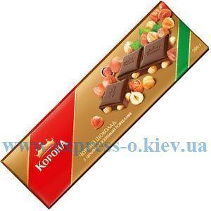 Изображение Шоколад Корона  черный с цельными  лесными орехами 185 г